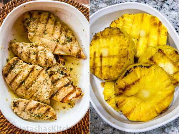 Two photos one with grilled chicken and one with grilled pineapple
