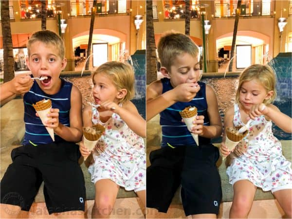 Two photos side by side of two children eating ice cream