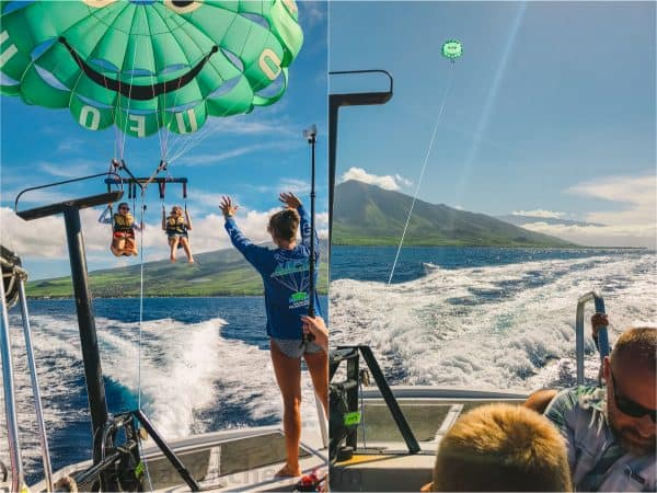 Two photos side by side of people parasailing
