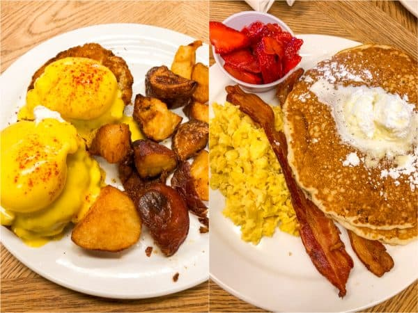 Two photos one of eggs Benedict and potatoes one of pancakes, bacon and eggs