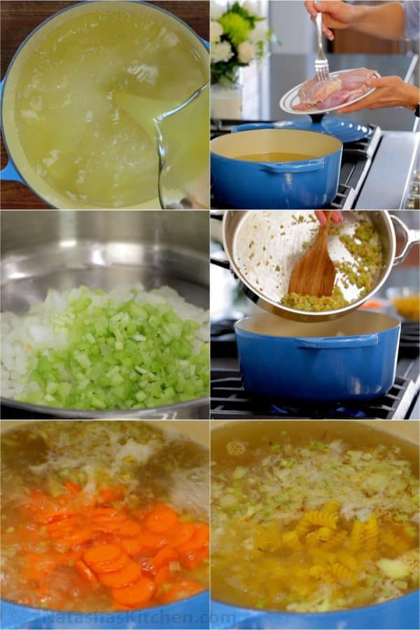 Picture collage of making Chicken Noodle Soup: creating the broth, adding the juicy chicken thighs, sauteing celery and onions, adding sliced carrots and noodles