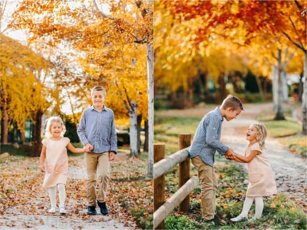 Two photos side by side one of children walking holding hands and one of children laughing