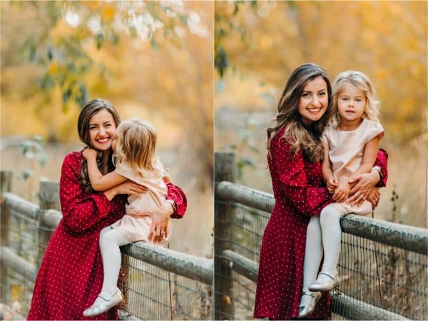 Two photos of a mother and daughter