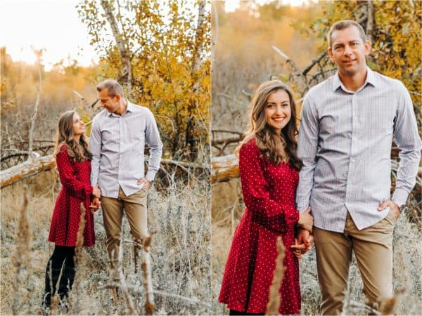 Two photos side by side of Natasha Kravchuk and her husband standing in grass