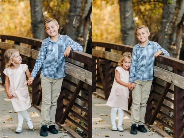 Two photos of two children standing on a bridge