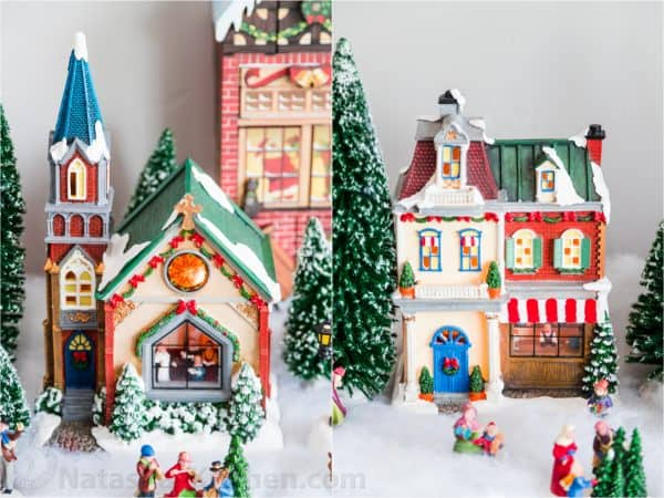 Two photos side by side of Christmas houses and figurines