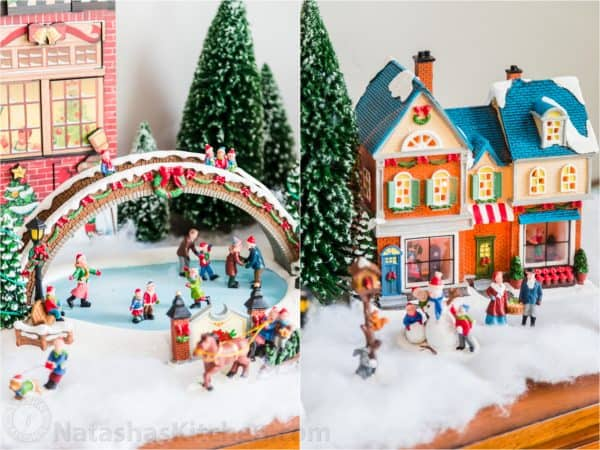 Two photos side by side of Christmas decor figurines
