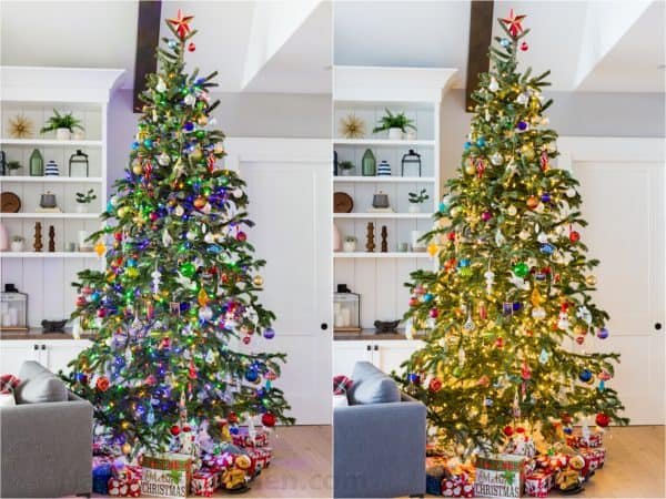 Two photos side by side one of an unlit Christmas tree and one of a lit tree