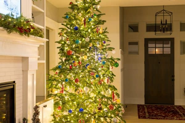 A living room with a Christmas tree