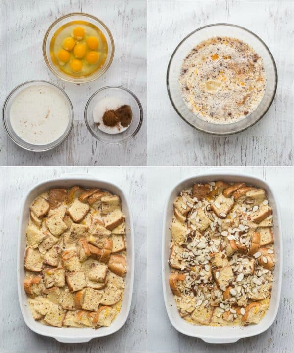 Step-by-step photo collage how to make a French Toast Breakfast Casserole.