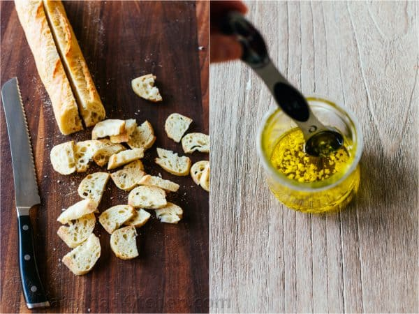 How to make croutons with sliced bread and garlic infused olive oil