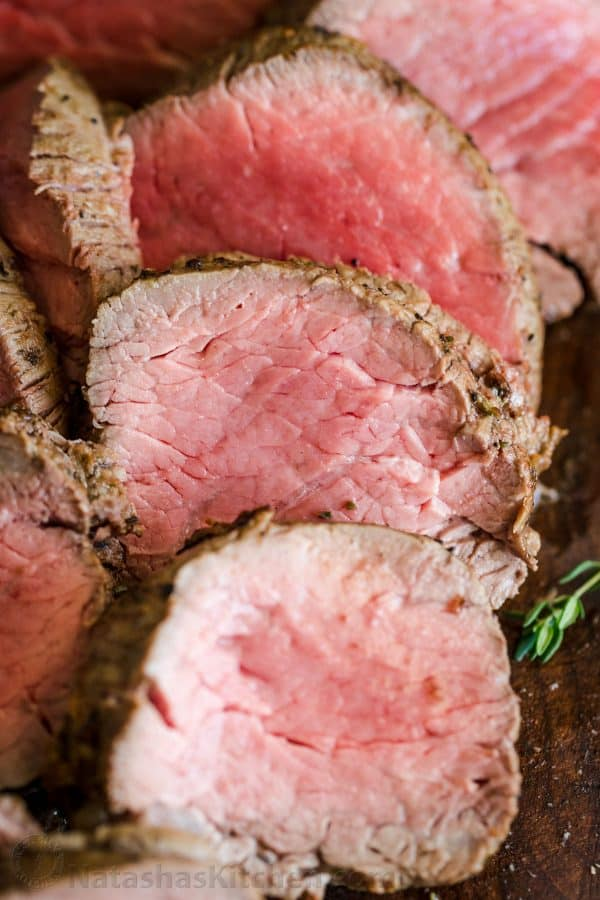 Up close slices of roasted beef tenderloin