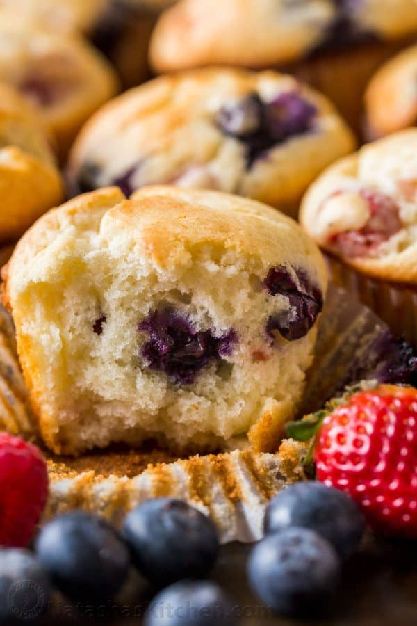 Inside of mixed berry muffins with blueberries not sinking to the bottom