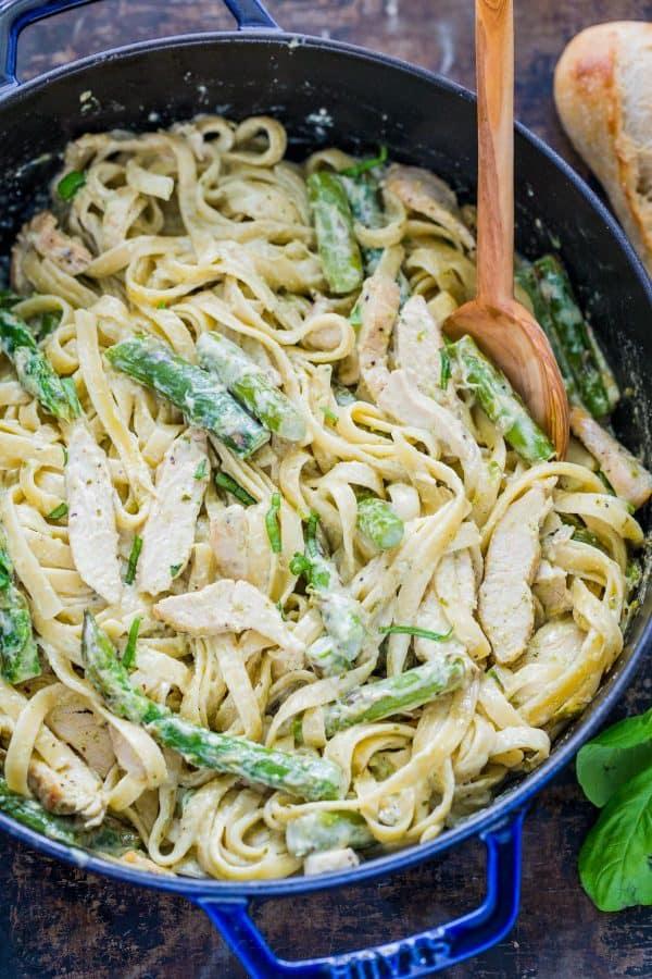 Asparagus vegetables in chicken pesto pasta