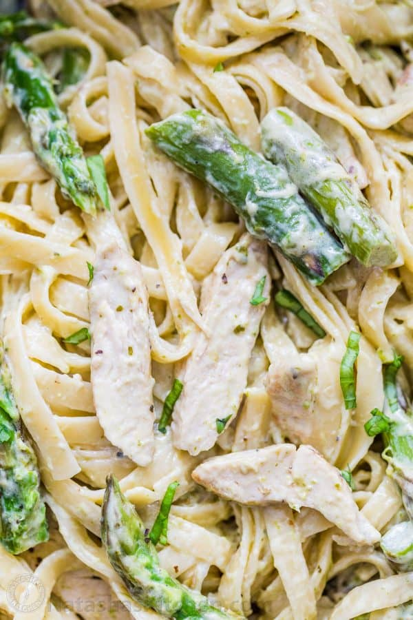Use Fettuccini noodles in creamy sauce