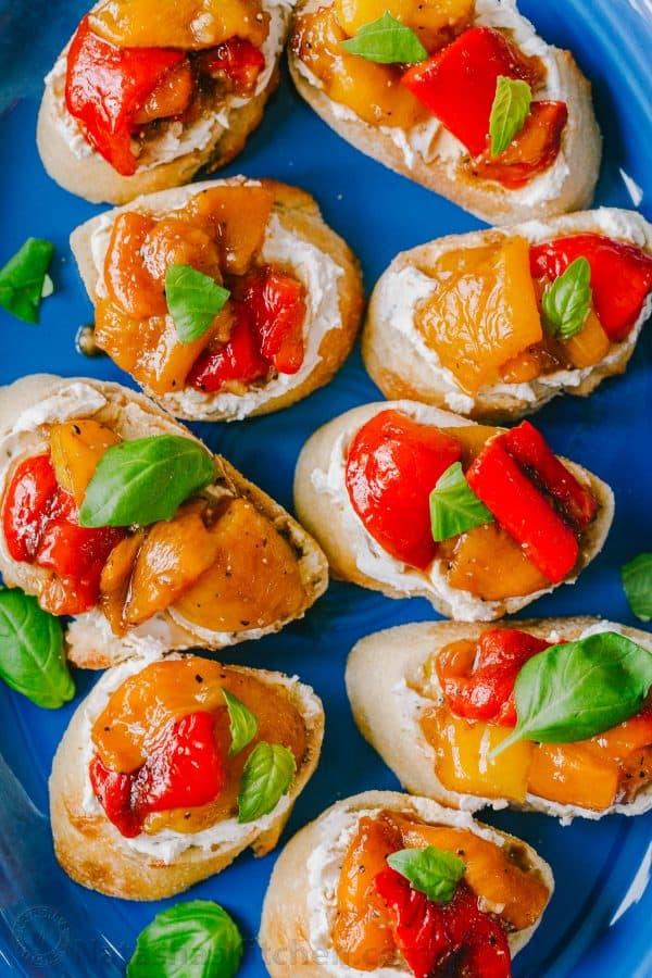 Bruschetta appetizers on a platter
