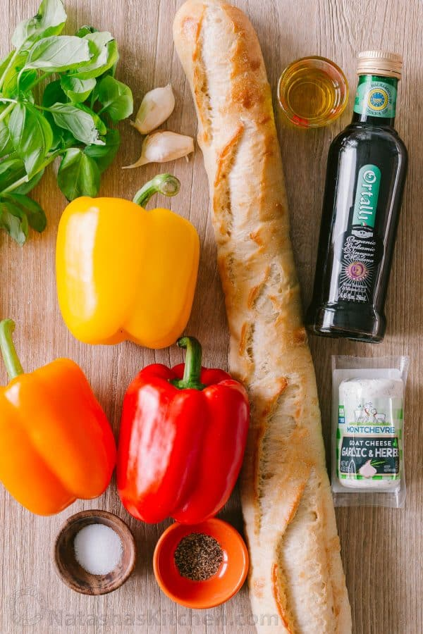 Ingredients for Bruschetta with goat cheese, bell peppers, baguette
