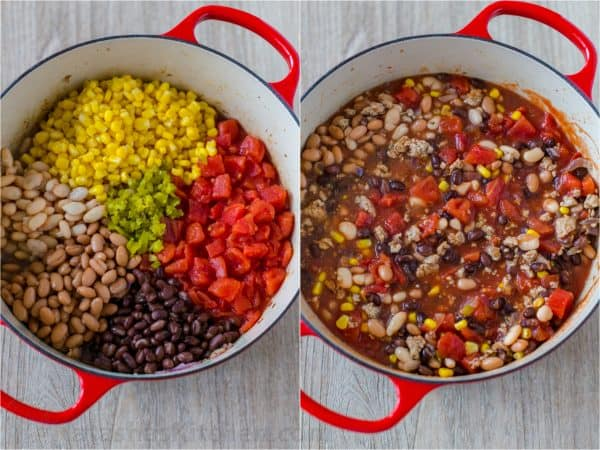 Combining all ingredients for turkey chili in the pot