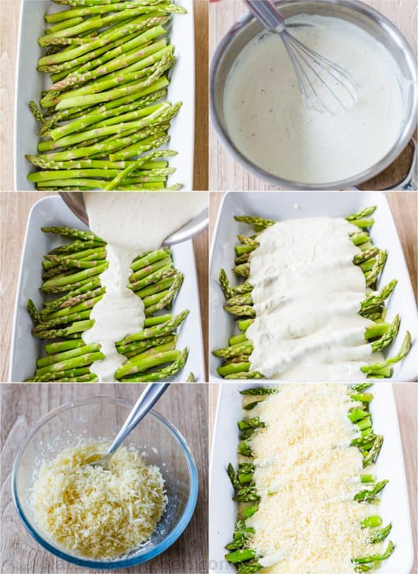 Step by step photos how to make asparagus casserole, sauce and crisp cheesy topping
