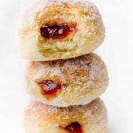 stack of 3 baked donuts
