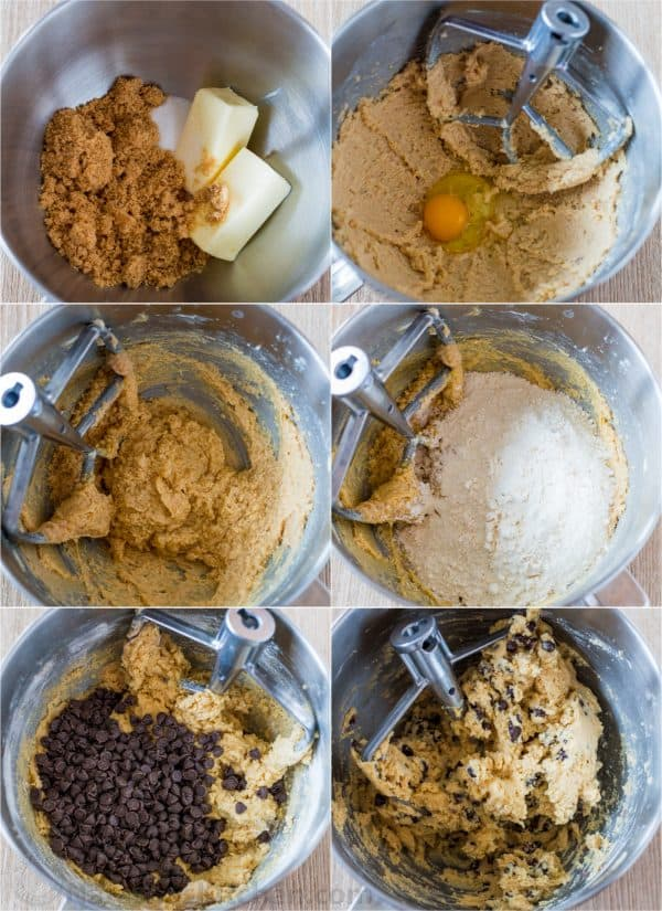 How to make chocolate chip cookies step by step tutorial in the bowl of stand mixer