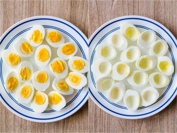 Peeled and halved hard boiled eggs