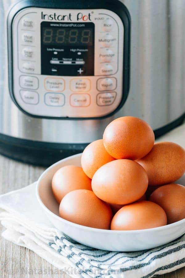 Instant Pot Hard Boiled Eggs in a bowl