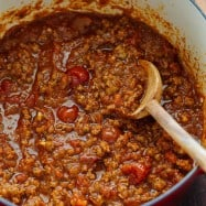 Spaghetti meat sauce in a pot