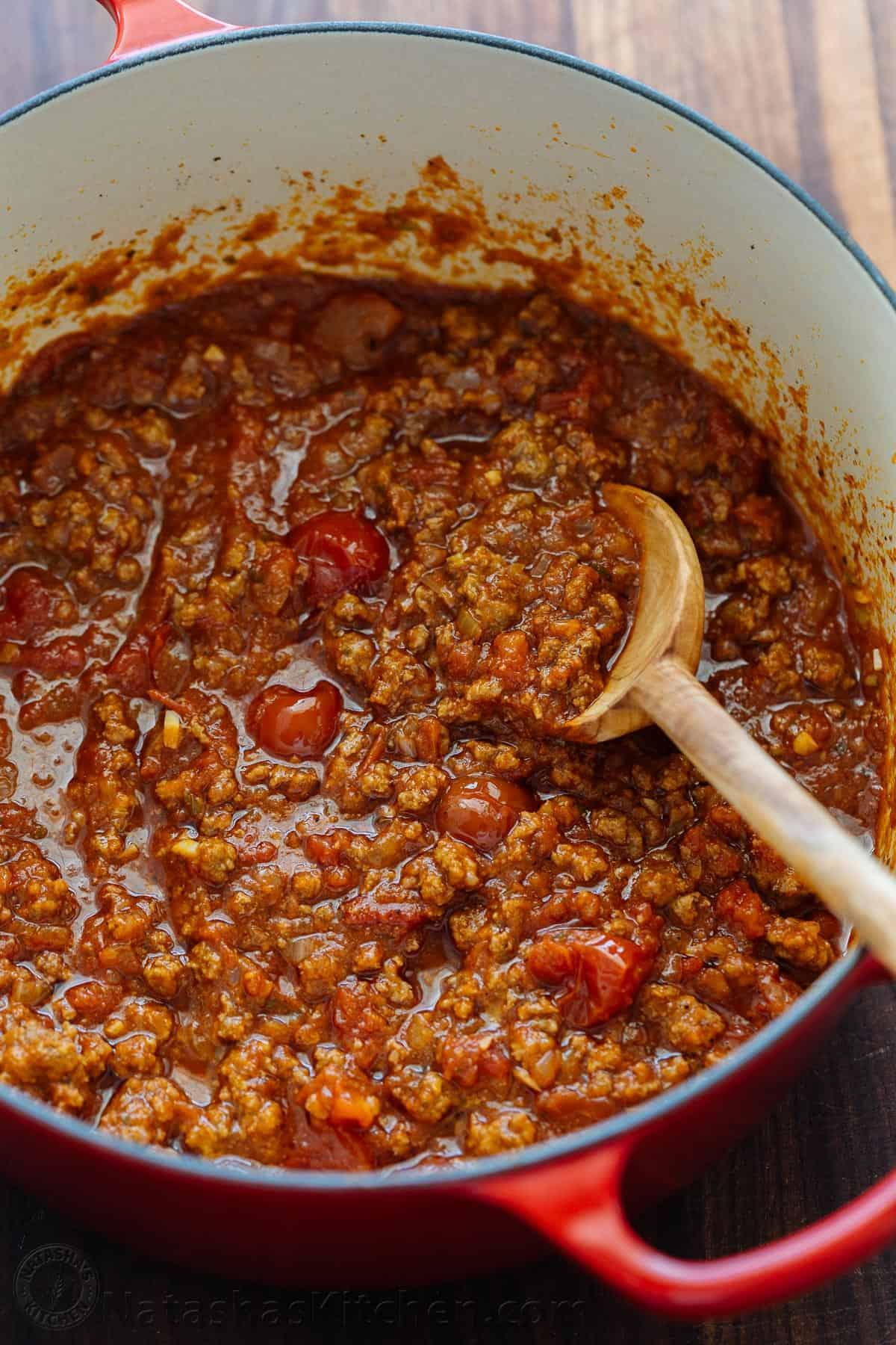 Spaghetti Meat Sauce Recipe Natashaskitchen Com