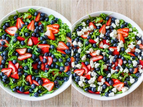 how to make arugula salad with strawberries, blueberries and goat cheese