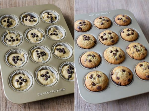 Banana muffins before and after baking