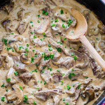Beef stroganoff recipe in pan