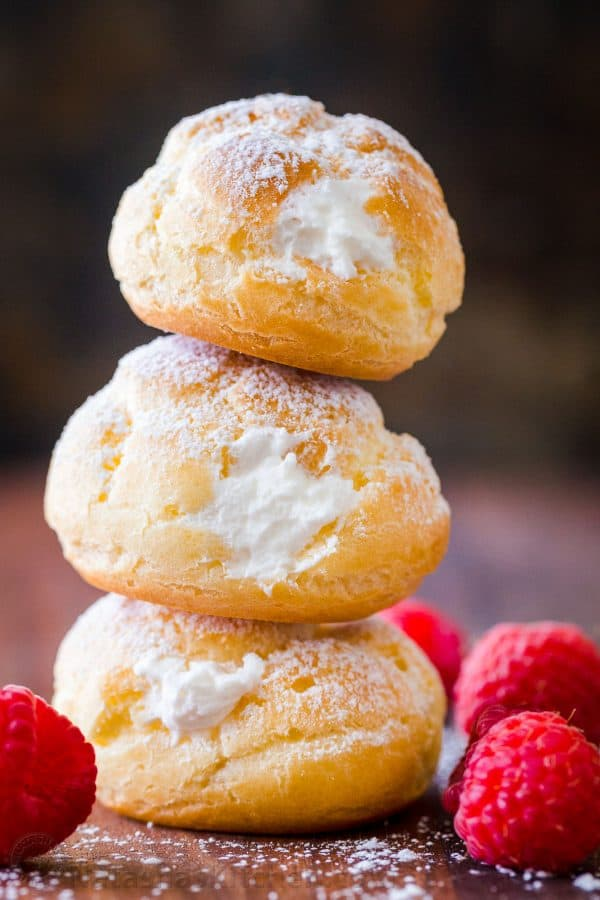 Stacked cream puffs ready for freezing