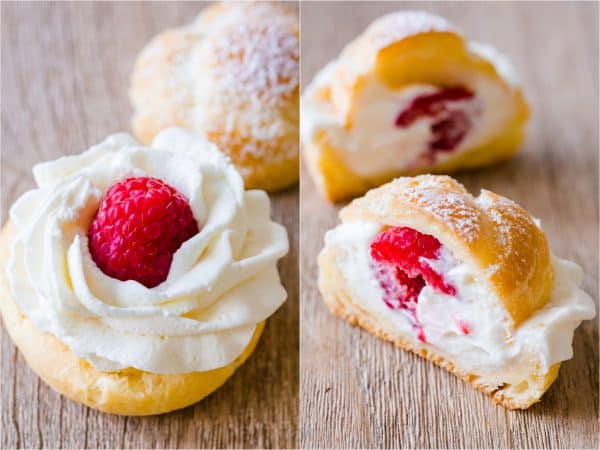 Choux Pastry shells filled with cream and raspberries