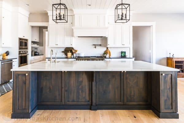 dream kitchen with dark grey stained cabinets on island