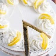 Lemon Poppy seed cake with a cut slice of cake