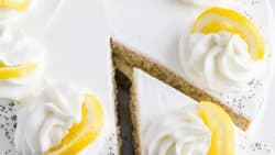 Lemon Poppy seed cake with a cut slice of cake