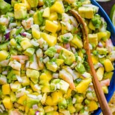 Shrimp mango avocado salsa