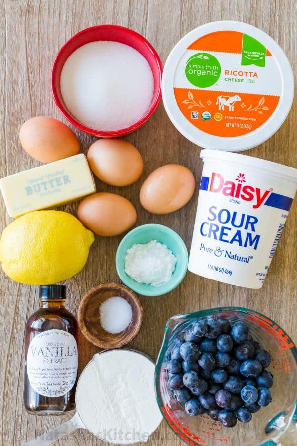 Ricotta cheese, sour cream, blueberries, eggs, sugar and cake ingredients