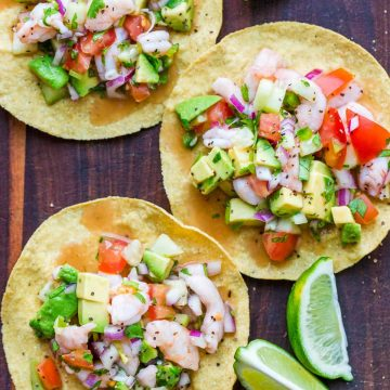 Mexican Ceviche recipe served over tostadas