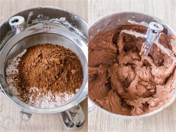 How to Make Chocolate Frosting sifting in cocoa and powdered sugar