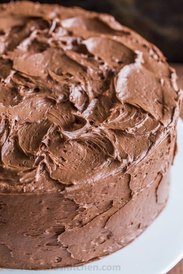 Swirled frosting on chocolate cake