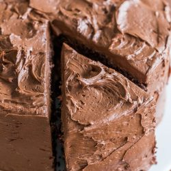 Chocolate Cake Recipe on platter