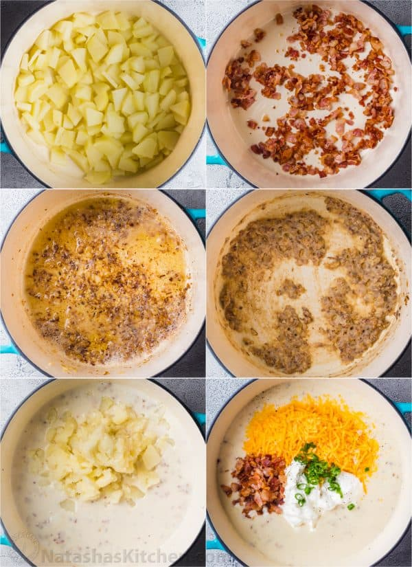 Step-by-step collage how to make loaded potato soup.