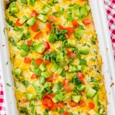 Mexican Chicken Casserole on towel