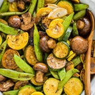 Balsamic Grilled Vegetables with spoon
