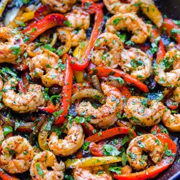 Shrimp Fajitas Recipe in Skillet