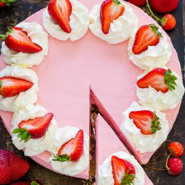 No bake strawberry cheesecake with slice cut for serving