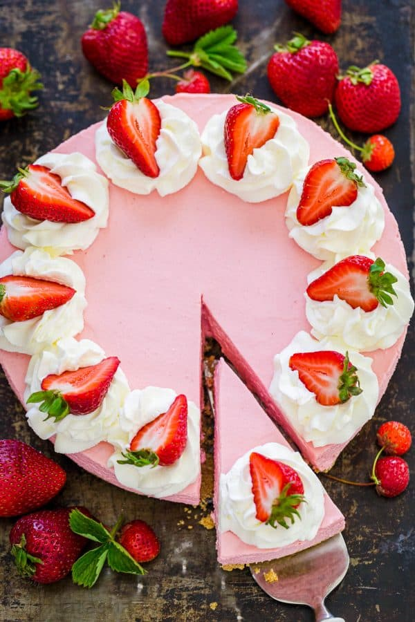 Strawberry Cheesecake with slice cut out