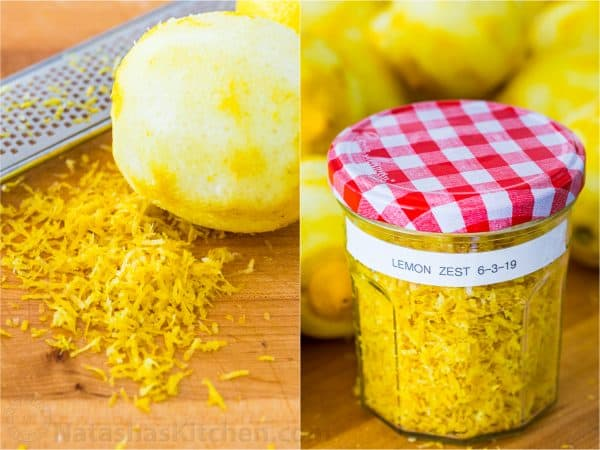 Lemon zest in jar for freezer